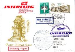 """DDR Amtl.Ganzsache M.priv.Zudruck WSt.""""Berliner Bauten,30Pf.mfg""""P98/C4a ZF """"INTERFL.DRESDEN-LEIPZIG"""" SSt 11.5.89 LEIPZIG - Cartes Postales - Oblitérées"""