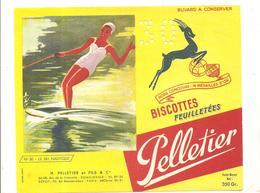 Buvard Pelletier Biscottes Pelletier Série Sport N°50 Le Ski Nautique - Biscottes