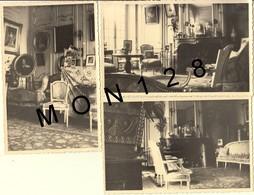 HEUGLEVILLE SUR SCIE (76)  INTERIEUR DU CHATEAU DES GUERROTS - 3 PHOTOS 13,5x9 Cms - Lieux