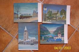 LOT DE 4 CP - Illust. Lucien VIEILLARD (Au Lapin Agile, St Germain Des Près, Locomotive Bleue,l'autobus R à Paris) - Illustrateurs & Photographes