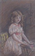 POSTAL DIBUJADA DRAW PASTEL TIZA CIRCULEE 1914 JUANA WAGEMANN A ELENA LOUSTALAN-TIMBRE ARRACHE - BLEUP - Douane