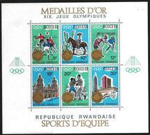Rwanda 1968 Scott 254 MNH Overprint Sheet Olympic Games Mexico, Gold Medal - Rwanda