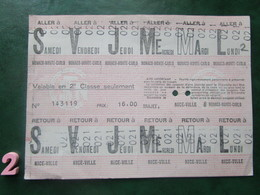 Planche 12 TICKETS Collection CARTE HEBDOMADAIRE De TRANSPORT Aller: MONACO-MONTE-CARLO Et Retour: NICE - Métro