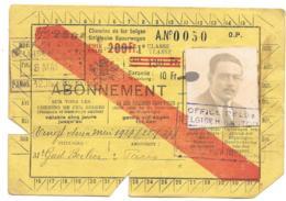 ABONNEMENT CHEMIN DE FER BELGES.. VALABLE CINQ JOURS..1927..TBE..  VOIR SCAN - Season Ticket