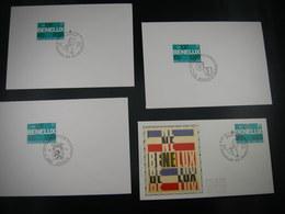 """BELG.1974 1723 FDC's Brussel & Jodoigne & Baarle-Hertog & FDC Soie/zijde  Brux/Brus  """"BENELUX 1944-1974"""" """" - FDC"""