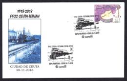 7.- ESPAÑA 2018 MATASELLO ESPECIAL FERROCARRIL CEUTA - TETUAN 1918-2018 - 1931-Hoy: 2ª República - ... Juan Carlos I