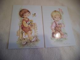 LOT DE 2 BELLES ILLUSTRATIONS ...JEUNES ENFANTS ...SIGNE CONSTANZA - Illustrateurs & Photographes