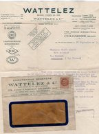 VP14.243 - Enveloppe & Lettre - Caoutchouc Régénéré WATTELEZ & Cie à COLOMBES ( Seine ) - France