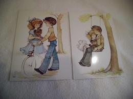 LOT DE 2 BELLES ILLUSTRATIONS ...JEUNES ENFANTS ...BALANCOIRE ET VELO ...SIGNE ANNIE - Illustrateurs & Photographes