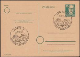 DDR 1950. Entier Postal. Oblitération Spéciale Leipzig C1, Courses Automobiles Et Motos - Cars