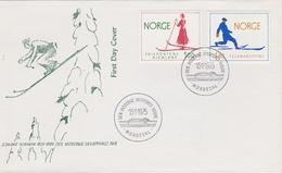 SKIING SKI SPORTS SKIFAHREN NORWAY NORGE NORWEGEN 1975 MI 695 696 FDC Sport History - Skiing
