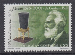 4.- URUGUAY 2001 125 Years Of The Invention Of The Telephone (A. Graham Bell) - Télécom