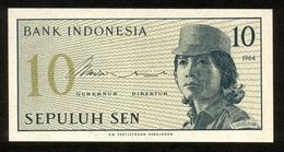 Indonesien 1964, 10 Sen - UNC, Kassenfrisch - Indonésie