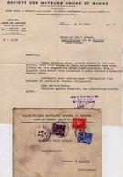 VP14.244 - Enveloppe & Lettre - Société Des Moteurs GNOME Et RHONE Usine De LIMOGES - France