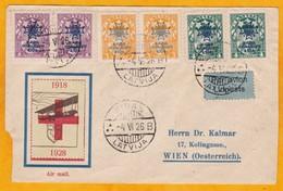 1926 - Enveloppe Commémorative Par Avion De RIGA 5, Lettonie Vers Vienne, Autriche - Vignette Croix Rouge - Letland