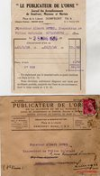 VP14.245 - Enveloppe & Facture - Le Publicateur De L'Orne à DOMFRONT, MAYENNE Et MORTAIN - Imprimerie & Papeterie