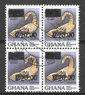 Ghana  N° 983 BLOC DE 4 TIMBRES SURCHARGES YVERT OBLITERE - Ghana (1957-...)