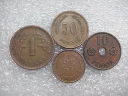 Finland   II WW  Set : 10 - 50 Penniä , 1 Markka  1941-42 , COPPER - Finlande
