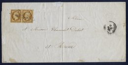 France N° 9 Paire S/Lettre Obl. Pc 886 Signé Calves - Cote 3000 Euros - 1852 Luis-Napoléon