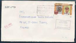 Trinidad & Tobago 1989  A Cover To Finland, Missent To Sweden Label, Cricket Player - Trinidad & Tobago (1962-...)