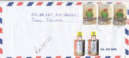 Trinidad & Tobago 2000  A Long R-cover To Finland, Bottle Shape Stamps, Birds - Trinidad & Tobago (1962-...)