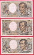 "France 3 Billets 200 Francs ""Montesquieu"" -1986-XF/SUP+-----1987-VF/SUP--1989-F/TTB- (PETIT PRIX DE DEPART A SAISIR) - 200 F 1995-1999 ''Eiffel''"