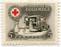 Lote CR17, Colombia, 1958, Sello , Stamp, Cruz Roja, Red Cross, Ambulance, Nurse - Colombia