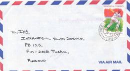 Trinidad & Tobago 1997 A Cover To Finland, Cricket Player, Great Postmark - Trinité & Tobago (1962-...)