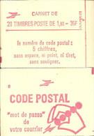 """CARNET 2220-C 8a Liberté De Delacroix """"CODE POSTAL"""", Fermé Gomme Mate Bas Prix Parfait état RARE - Booklets"""