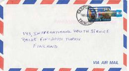 Trinidad & Tobago 2000 A Cover To Finland, Bottle Shape Stamp Alone - Trinidad & Tobago (1962-...)