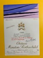9714 - Château Mouton Rothschild 1980 Artiste Hartung Spécimen - Bordeaux