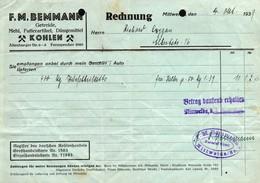3522 - F.M. Bemmann Mittweida - Rechnung Stempel - Kohlehandel - 1900 – 1949
