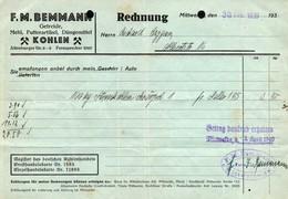 3576 - F.M. Bemmann Mittweida - Rechnung Stempel - Kohlehandel - 1900 – 1949
