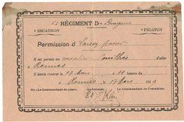 RENNES MILITARIA LAISSEZ PASSER 6e REGIMENT DE DRAGONS Cavalier POUILHES Daté Du 17 Mars 1919 - Army & War