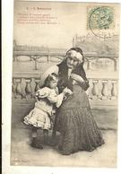 """ENFANTS - Carte Fantaisie Enfant Et Vieille Femme """" L'Aumône """" - Edit. BERGERETles Quatres 78/79/80/81// - Contes, Fables & Légendes"""