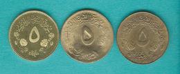 Sudan - 5 Milliemes - AH1403 (1983) - KMs 110.1 & KM110.4; AH1400 (1980) KM54a.3 - Soudan