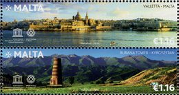 Malta - 2018 - UNESCO World Heritage - Valletta City And Burana Tower - Joint Issue With Kyrgyzstan - Mint Stamp Set - Malte