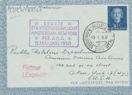 Nederland - 1950 - 30 Cent Luchtbrief, Luchtpostblad G3 Per Eerste Stratocruiservlucht Van Den Haag Naar New York / USA - Periode 1949-1980 (Juliana)