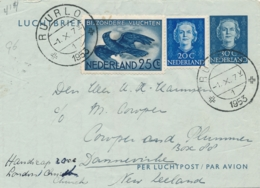 Nederland - 1953 - 30 Cent Luchtbrief, Luchtpostblad G6 + 45 Cent Van RUURLO Naar Christchurch / New Zealand - Periode 1949-1980 (Juliana)