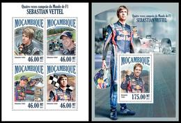 Mozambique 2013, Race F1, Sebastian Vettel, Klb + S/s MNH - Cars