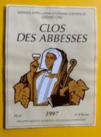 9722 - Clos Des Abbesses 1997 Suisse Collée Sur Papier - Bourgogne