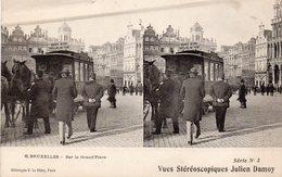 Carte Stéréoscopique De Bruxelles - Sur La Grand'Place - Stereoscope Cards