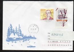 Estland 1997  MiNr. 263, 280  Auf Brief In Die BRD - Estonie