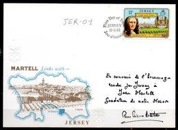 JER-01 : Jersey FDC Jean Martell 1982 Signée Du President De La Societe Martell - Jersey