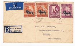Registered Letter 1957 Eldoret Kenya Nairobi Luzern Switzerland Suisse Barclays Bank Banque - Kenya, Uganda & Tanganyika