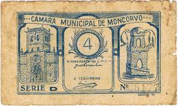 CÉDULA DA CÂMARA MUNICIPAL DE MONCORVO-4 CENTAVOS. - Portugal