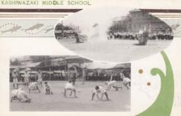 Kashiwazaki Japan, Middle School Students Excercise, Graphic Design Art, C1910s/20s Vintage Postcard - Japan