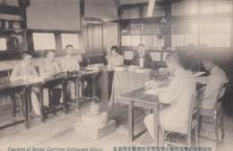 Sendai Japan, Teachers Of Sendai Christian Orphanage School, Men Sit And Write At Table, C1900s Vintage Postcard - Japan
