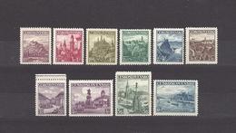 Czechoslovakia 1936 MNH ** Mi 351-359, 386 Sc 218-226, 240 The Castles, Landscapes, Cities. Landschaften C11 - Unused Stamps