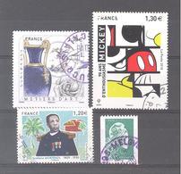 France Oblitérés : Céramiste - 90 Ans Mickey - Marianne L'Engagée (roulette Verte) & N°5211 (cachet Rond) - France
